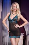 Babydoll Sexy Si Chilotei String, Negru Cu Turcoaz, M, Chilirose