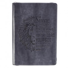 Strong & Courageous Classic Lux-Leather Zip Journal