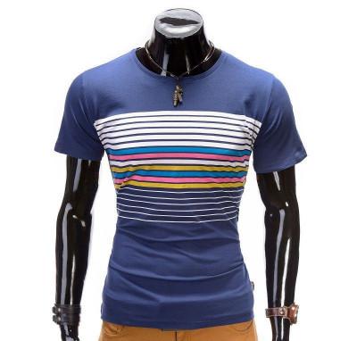 Tricou pentru barbati, albastru, cu dungi multicolore, mulat, slim fit - z333 foto