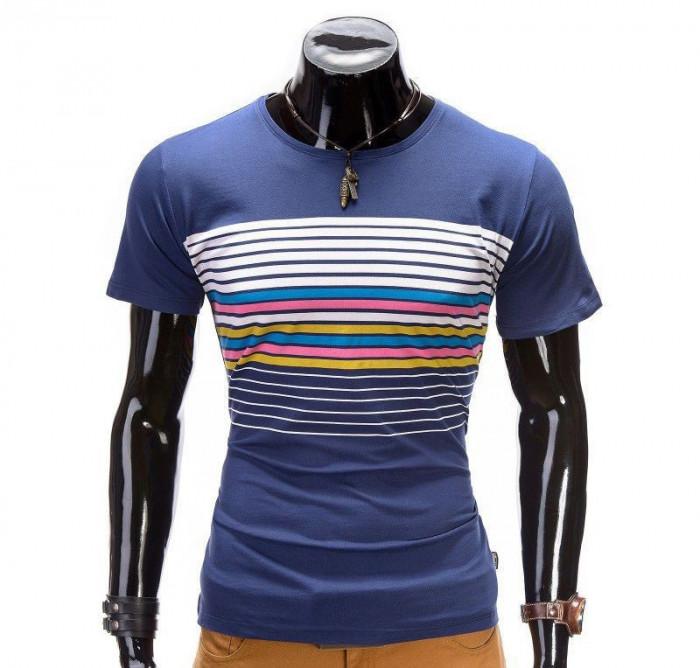 Tricou pentru barbati, albastru, cu dungi multicolore, mulat, slim fit - z333