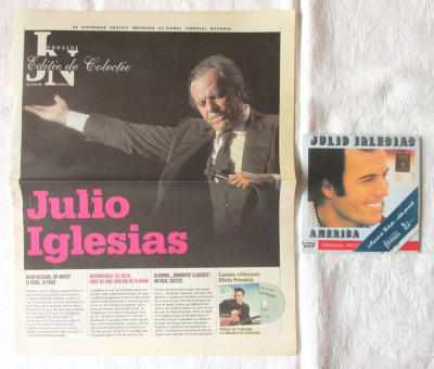 """JULIO IGLESIAS. America"", CD + ziar JURNALUL NATIONAL, 2007 foto"