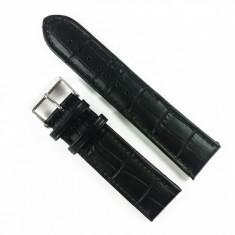 Curea de ceas Neagra din piele naturala cu imprimeu crocodil - 22mm 24mm - WZ3393