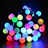 Ghirlanda alba LED, 30 globuri lumina multicolora, 14.5 m, exterior/interior