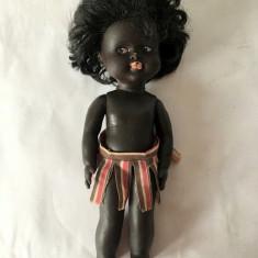 Papusa / papusica Aradeanca, romaneasca, negresa, Zumbi, anii 70-80, 24cm