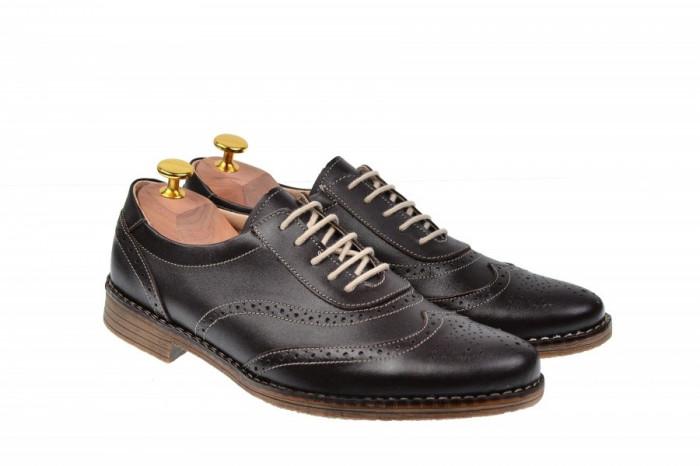 Pantofi barbati oxford, eleganti din piele naturala maro, ALEXANDER - 870MBOX