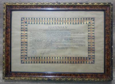 Decret acordare Crucea Patriarhala/semnat Patriarhul Justinian, 1958 foto