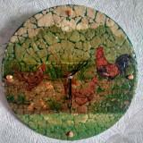 Ceas de perete vinil disc vechi, pensiune, restaurant rustic, cadou vintage