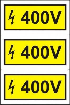 Indicator 400 V (3 etichete pe coala) - Semn Protectia Muncii foto