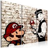 Tablou canvas 3 piese - Mario Bros: Zidul sfasiat - 90x60 cm, Artgeist