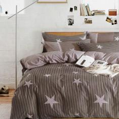 Lenjerie de pat Elvo bumbac satinat cu stelute Amy, 220x230 cm