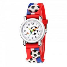 Ceas pentru copii, model minge - fotbal, culoare multicolor, model 2AAR