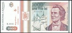 Romania 1000 lei 1993 pick 102 aUNC foto