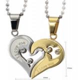 Pandantiv / Colier / Lantisor -Cuplu- I LOVE YOU - Argintiu + Auriu