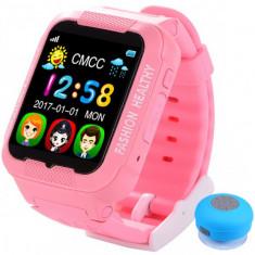Ceas GPS Copii iUni Kid3, Telefon incorporat, Touchscreen 1.54 inch, BT, Notificari, Camera, Roz + Boxa Cadou