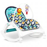 Balansoar si scaun 3 in 1 pentru bebelusi si copii 0-18kg Ecotoys cu sunete, melodii si vibratii calmante, albastru deschis