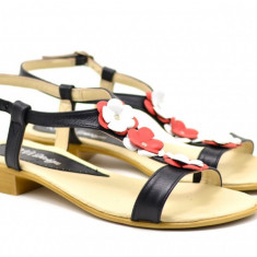 Sandale dama din piele naturala cu platforma joasa - SCORANAR, 35 - 40, Alb, Bej, Bleumarin, Maro, Negru, Rosu, Roz