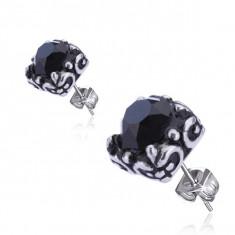 Cercei din oţel - ştras negru, montură, tijă cu şurub