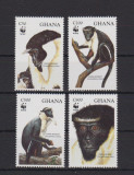 GHANA 1994  WWF FAUNA PROTEJATA MAIMUTE, Nestampilat