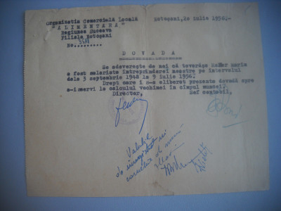 HOPCT DOCUMENT VECHI  413 SOCIETATEA  COMERCIALA ALIMENTARA  BOTOSANI 1956 foto