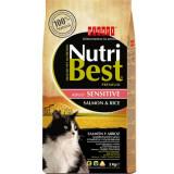 Cumpara ieftin Hrana uscata pentru pisici cu somon si orez, Nutribest Cat Adult Sensitive, 2 Kg