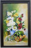 Tablou / Pictura flori si fructe semnat Cimpoesu, Ulei, Realism