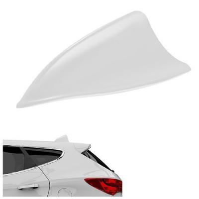 Antena Auto Ornamentala Universala, tip Rechin, din Plastic, 15x5.5x7cm, culoare Alb foto
