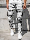 Pantaloni trening cargo negru-alb Bolf 0705