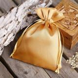 Săculeți satin dreptunghiulari 9x12cm (set 100 buc) - Auriu