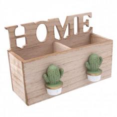 Suport din lemn cu 2 compartimente, model home & cactus, 18×8.5×12 cm