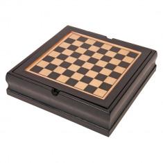Set jocuri, Sah, Table, Domino, carti de joc si zaruri, maro, Everestus, AV03FN, lemn, plastic, saculet de calatorie inclus