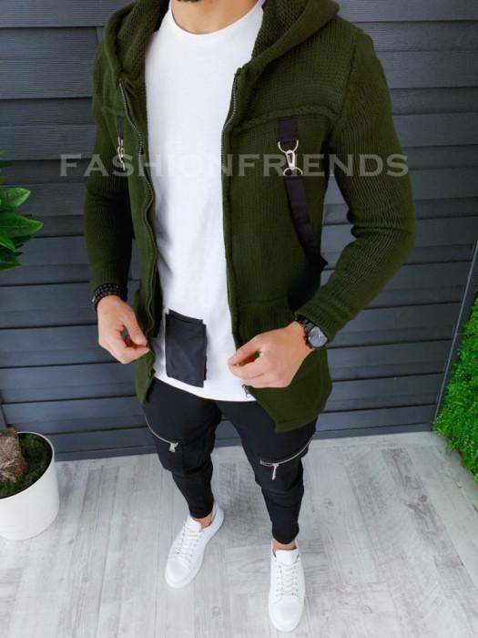 Cardigan barbati kaki cu gluga slim fit ZR T3615