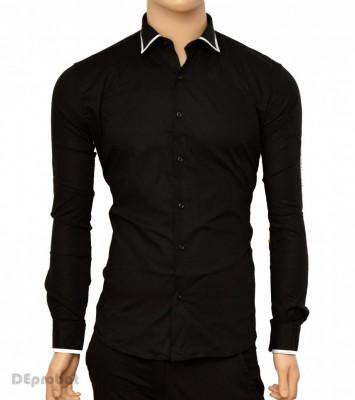 Camasa Slim Fit neagra cu terminatii albe - Camasa neagra barbati ZR65 foto