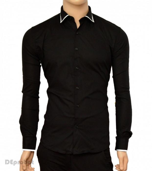 Camasa Slim Fit neagra cu terminatii albe - Camasa neagra barbati ZR65