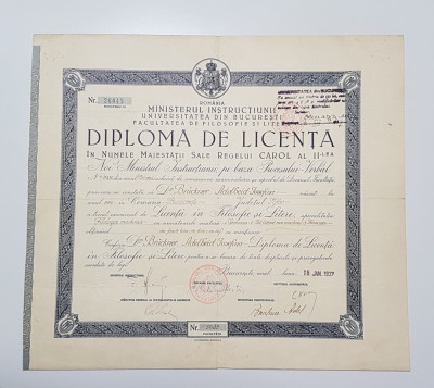 Diploma de licenta 1937 Filosofie si Litere - per. Carol II foto