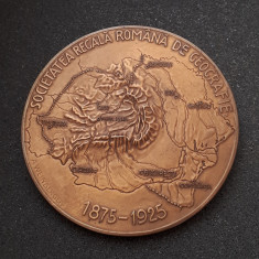 Medalie Carol I - Ferdinand I - Societatea regala de geografie - 1925 - superba