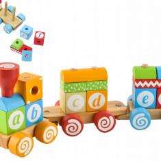 Set Trenulet Educational din Lemn Format din 18 Elemente Colorate pentru Copii