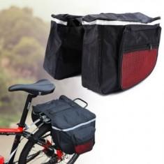 Geanta Dubla pentru Bicicleta, 4 Compartimente, Culoare Negru cu Rosu si Benzi reflectorizante