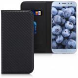 Husa pentru Samsung Galaxy J7 (2017), Piele ecologica, Negru, 45156.01