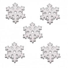 Fulgi de zapada din polistiren, culoare alb, diametru 10 cm, set de 5 bucati
