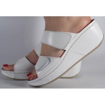 Saboti/Papuci MUBB albi din piele naturala (cod 6680.1) foto