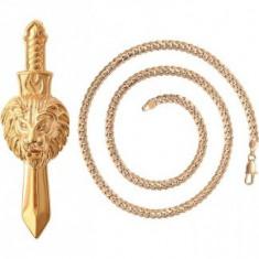 Lant Anebris cu pandantiv sabie cap Leu,dublu placat Aur 18K,41 grame