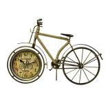 Ceas metalic Bicicleta retro, auriu antichizat si iuta, handmade