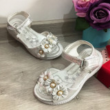 Cumpara ieftin Sandale argintii elegante cu floricele pt fetite 25 27 28 29 30, Fete
