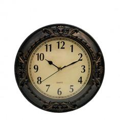 Ceas de perete Vintage, rotund, melamina, maro, diametru 26 cm