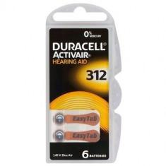 Baterii pentru proteze auditive Duracell ZA312 Zinc-Aer 6 Baterii /set