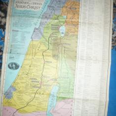 Harta lui Pilgrim-a Tarii Sfinte -studiu biblic drumuri, fapte Iisus -Ed.1942