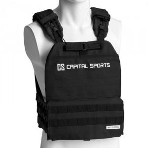 Capital Sports Battlevest 2.0, vestă cu greutăți, 2 greutăți de 4,0 kg, neagră