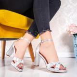Sandale cu toc argintii dama Vestila