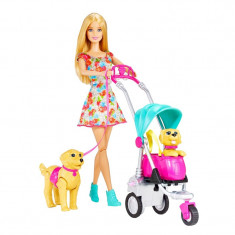Set papusa Barbie si catei Strollin Pups, carucior inclus, 3 ani+
