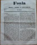 Foaia pentru minte , inima si literatura , nr. 2 , 1863 , Brasov , I. Muresanu